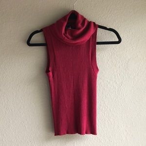 Knit maroon cowl neck top